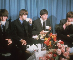 the beatles, tea, and beatles image