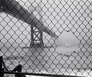 boat, bridge, and black and white image