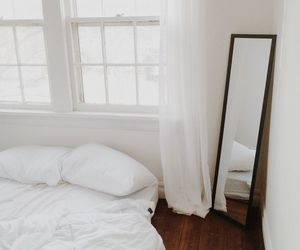 room, white, and mirror image