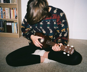 boy, guitar, and sweater image