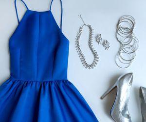 dress, blue, and heels image