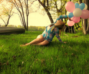 balloons and girl with balloons image