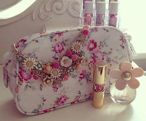 pink, perfume, and lipstick image