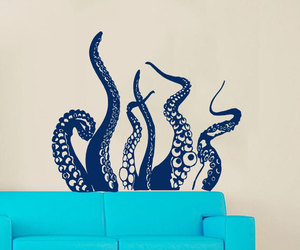 octopus wall art, bathroom wall decor, and octopus wall decals image