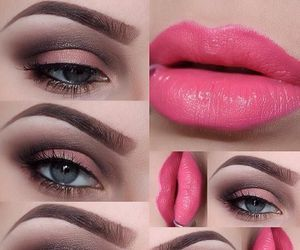 makeup, lips, and eyes image