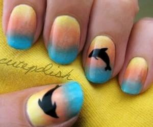 nails, dolphin, and nail art image