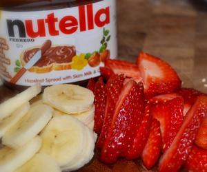 bananas, nutella, and strawberries image