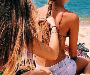 beach, braids, and summer image