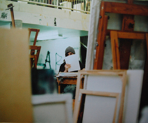 artist, canvas, and easel image