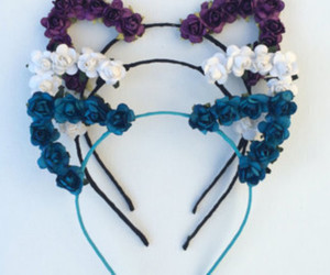 flowers, blue, and hair image