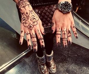 black, tattoo, and henna image