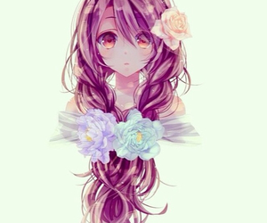 anime, flowers, and hair image