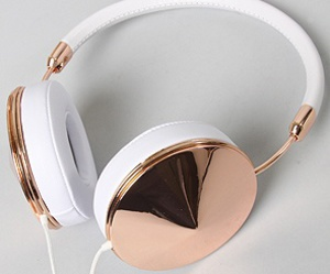 white, gold, and headphones image