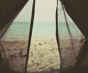 beach, sea, and tent image