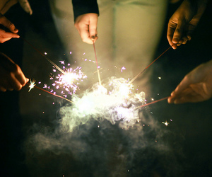 light, friends, and fireworks image