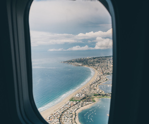 beach, airplane, and sea image