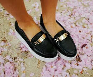 black, gold, and shoe image