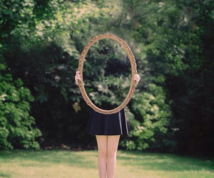 mirror, girl, and nature image