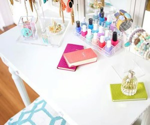 dressing table, interior design, and pink image