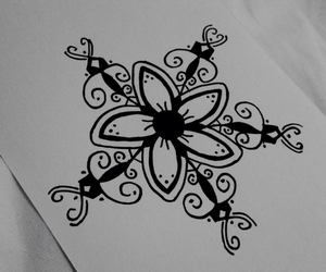 art, flower, and black and white image
