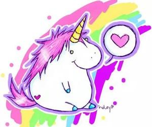 heart, rainbow, and unicorn image