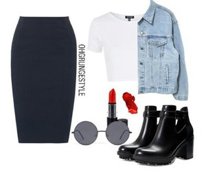 clothes, outfit, and pencil skirt image