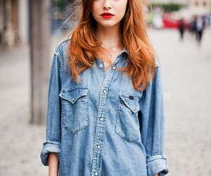 girl, redhead, and denim image