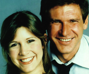 carrie fisher, harrison ford, and smile image