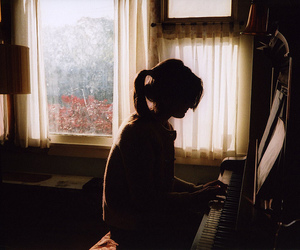 girl, piano, and music image