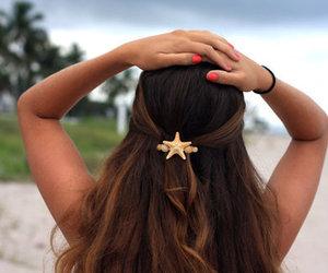 brown hair, sea, and seashell image