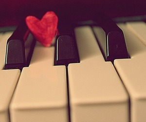 piano, heart, and music image