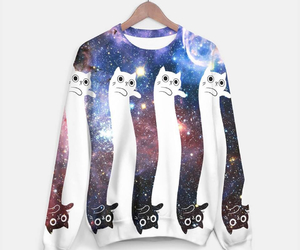 cat, galaxy, and sweater image