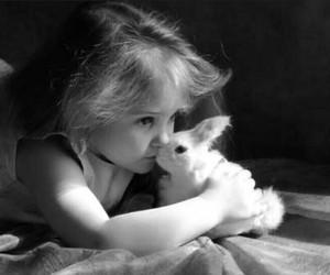 black & white, bunny, and child image