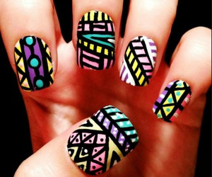 nails, nail art, and tribal image