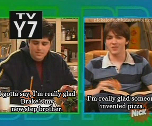 drake and josh, funny, and pizza image