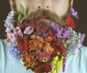 flowers, beard, and grunge image