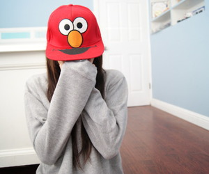 girl, elmo, and cap image