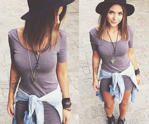 outfit, dress, and hat image