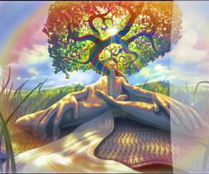 trippy, tree, and meditation image