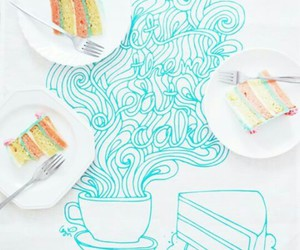 blue, cake, and drawing image