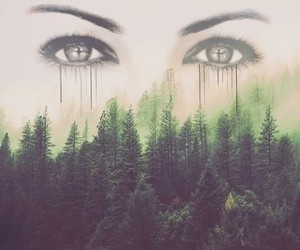 eyes, forest, and art image