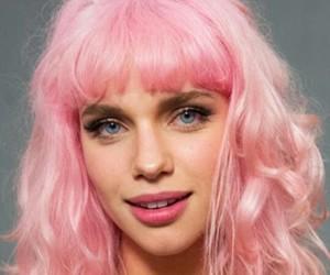blue eyes, make up, and pink image
