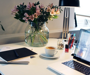 flowers, coffee, and desk image