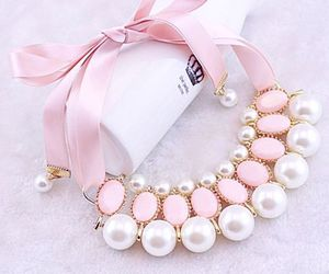 necklace, pink, and pearls image