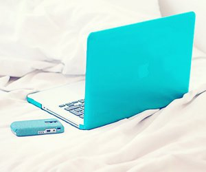 blue, laptop, and apple image