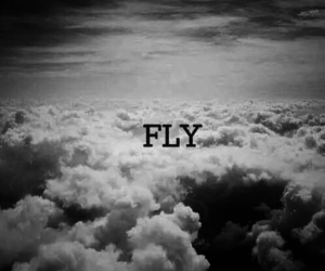 fly, clouds, and black image