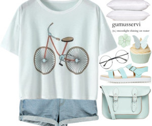 bicycle, blouse, and jumper image