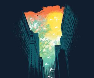 city, art, and rain image