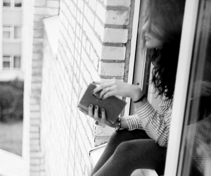 girl, book, and window image