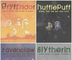 gryffindor, slytherin, and hufflepuff image